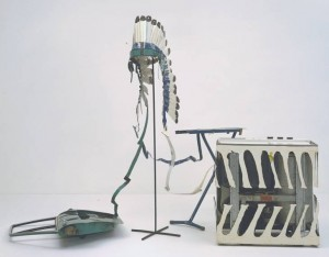 Car Door, Ironing Board and Twin-Tub with North American Indian Head-Dress 1981 by Bill Woodrow born 1948